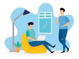 Coworking scene with men indoors vector