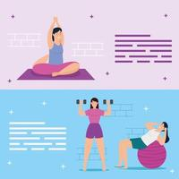 Young women exercising together banner set vector