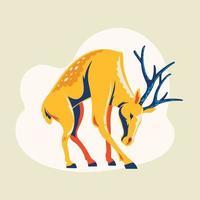 lindo ciervo de pie con cuernos vector