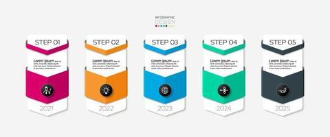 Five-step bar steps vector