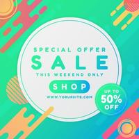 Sale banner art design with geometric shapes