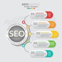 Ilustración del concepto de infografía de infografías seo con plantilla de diseño empresarial.