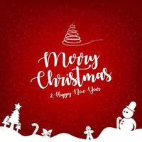 Merry Christmas and Happy New Year greeting card template. vector