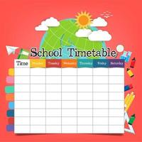 School timetable template vector