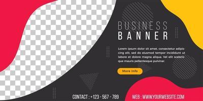 plantilla de banner de negocios estilo geométrico fluido simple