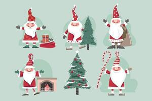 Set of Christmas gnomes Vector Illustration