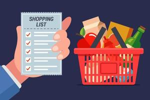 grocery card full of food with hand holding list vector