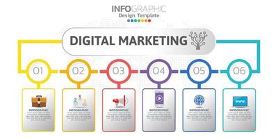 Digital online marketing banner with icons for business contents.