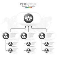 Corporate organization chart with business people icons.