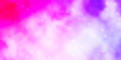 Fondo de vector violeta, rosa claro con estrellas pequeñas y grandes.