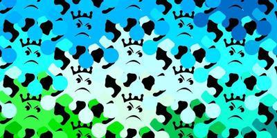 Dark blue, green vector pattern with coronavirus elements