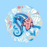 Vector illustration exotic chameleon