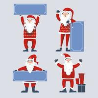 Santa Claus characters set holding banners vector
