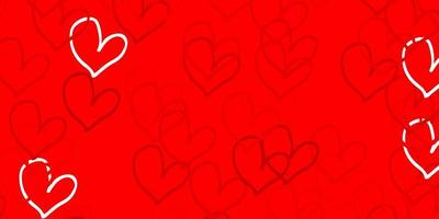 Light Red vector background with hearts.