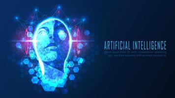 Futuristic Ai head concept vector