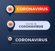 Set pin with coronavirus vector illustration
