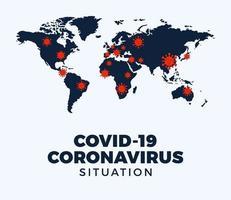 Mapa de coronavirus covid-19 casos confirmados notificados en todo el mundo vector