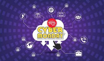 Modern cyber monday banner with flat design vector