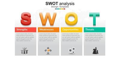 Four colorful elements with icons and place for text in Concept of SWOT analysis. vector