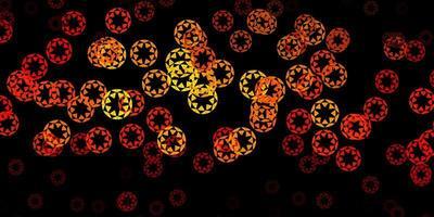 patrón de vector naranja oscuro con esferas