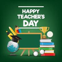 Happy teacher' s day template for poster or banner concept vector