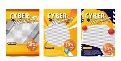 Plantilla de banner de venta Cyber Monday con tema amarillo.