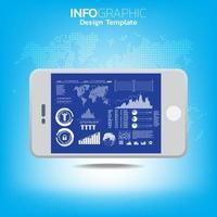 concepto de big data y movilidad con dispositivos conectados como teléfonos inteligentes. vector