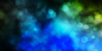 Fondo de vector azul oscuro, verde con burbujas.