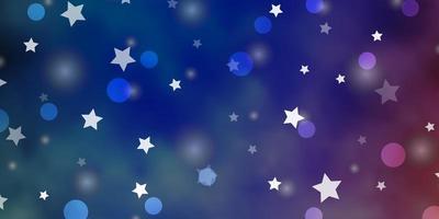 textura de vector azul claro, rojo con círculos, estrellas.