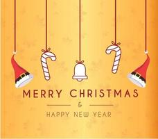 Merry Christmas and Happy New Year Holiday greeting card vector
