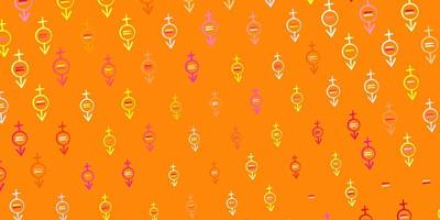 Light Pink, Yellow vector pattern with feminism elements.