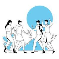 grupo de personajes de avatar de jóvenes
