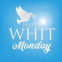 Whit Monday or Pentecost Monday banner, Pigeon or dove silhouette for christian community holiday. vector
