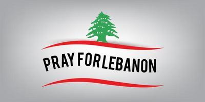 Lebanon flag with pray for beirut concept. vector