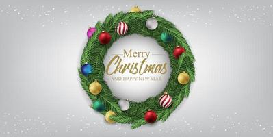 Christmas banner with Background and christmas decorates. Text Merry Christmas and happy New Year. vector