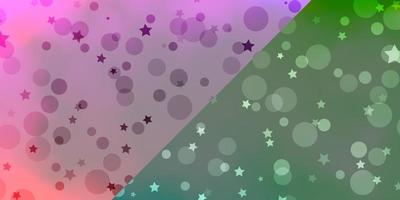 Vector layout with circles, stars.