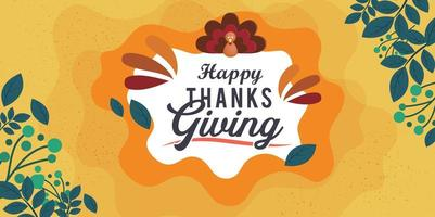 Hand drawn Thanksgiving typography poster with christian cross. vector
