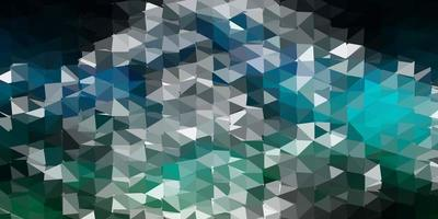 Dark blue, green vector abstract triangle background.