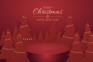 Christmas banner for present product with christmas tree on red Background. Text Merry Christmas and happy New Year. vector