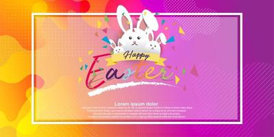 Easter card with square frame on colorful modern background.