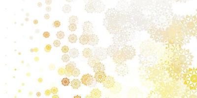 patrón de vector naranja claro con copos de nieve de colores.