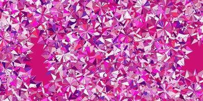 Telón de fondo de hermosos copos de nieve de vector púrpura claro con flores.