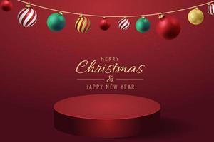 Banner de Navidad para el producto actual con árbol de Navidad sobre fondo rojo. texto feliz navidad y próspero año nuevo. vector
