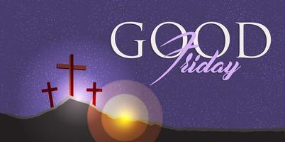 Three crosses on hill, Good Friday christian concept. vector