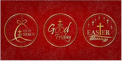 Good Friday label with gold style on red background. vector