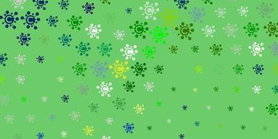 Light Blue, Green vector background with covid-19 symbols
