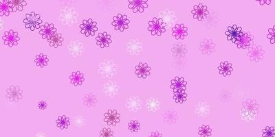 Telón de fondo natural de vector violeta claro con flores.