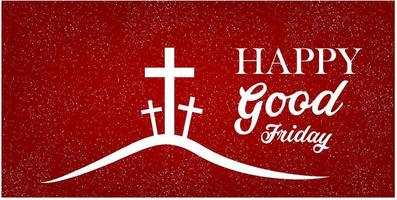 Good Friday banner with cross on red background. vector