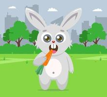 rabbit eating carrot on lawn