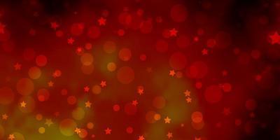 Patrón de vector naranja oscuro con círculos, estrellas.